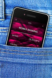 Mobile phone in jeans trousers pocket Royalty Free Stock Photos