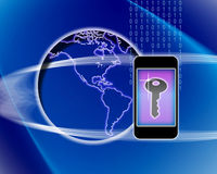 Mobile Phone Key to the World. An image for the concept of A mobile phone being the key to secure world communications. The image shows a graphic key on the Royalty Free Stock Photography