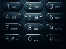 Mobile phone keyboard with numbers and letters - close-up. Close-up view of black and white generic mobile phone keyboard with numbers and letters Royalty Free Stock Photo
