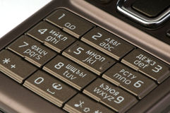 Mobile phone keypad close-up Stock Photos