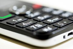 Mobile phone keypad close up macro shot, shallow depth of field,. Image for background stock photo