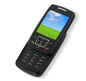 Mobile phone with landscape Stock Image