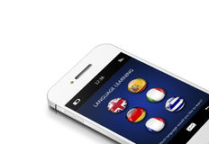 Mobile phone with language learning application over white Stock Photo