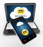 Mobile phone laptop and cloud network Royalty Free Stock Image