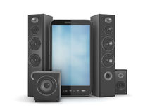 Mobile phone and large sound system Stock Photography