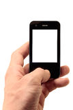 Mobile phone in left hand. With isolated display Royalty Free Stock Images