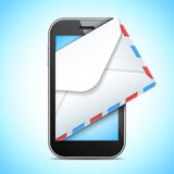 Mobile Phone and Letter Stock Image