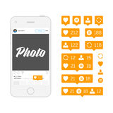Mobile phone and like icons. Royalty Free Stock Photos