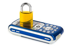 Mobile phone and lock Stock Images