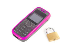 Mobile phone with a lock Stock Photos