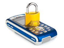 Mobile phone and lock. Isolated on white background royalty free stock photos