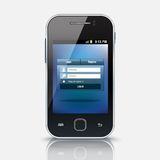 Mobile phone with login screen, eps 10 Stock Photo