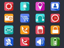 Mobile phone long shadow icons set Stock Photo