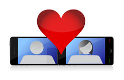 Mobile phone love Stock Image