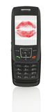 Mobile phone with love message. Love message in mobile phone, the image on the screen has a clearly visible net simulating display pixels, photo inside is my Royalty Free Stock Photos