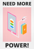 Mobile Phone - Low Battery. Mobile phone battery charge - isometric Royalty Free Stock Photos