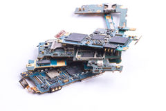 Mobile phone mainboard isolated Stock Image
