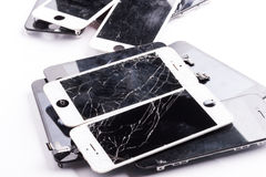 Mobile phone mainboard isolated stock photos