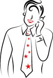 Mobile phone man. Line drawing of a flashy executive chatting on mobile phone Stock Photography