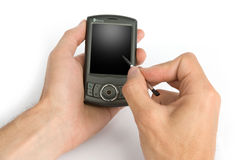 Mobile phone in man hand Stock Images