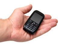 Mobile phone on man hand Royalty Free Stock Image