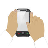 Mobile phone in  man hands. On a white background Royalty Free Stock Images