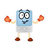 Mobile phone man mascot Stock Images