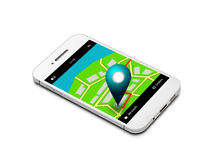 Mobile phone with map and gps application isolated over white Stock Photo