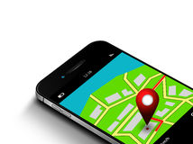 Mobile phone with map and gps application  over white Royalty Free Stock Photo