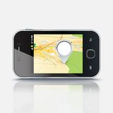 Mobile phone with map and pin, eps 10 Stock Image