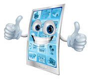 Mobile phone mascot double thumbs up Royalty Free Stock Photo