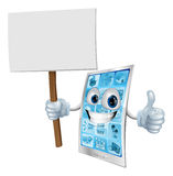 Mobile phone mascot holding sign Royalty Free Stock Photos