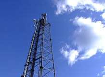 Mobile phone mast. Mobile, cell telephone mast on blue sky Royalty Free Stock Photos