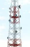Mobile phone mast antenna. On blue sky background stock photo