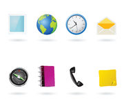 Mobile phone menu icons. Illustrated icons or buttons for mobile phones menu and desktop applications, as photo, web, time, messages, maps, contacts, calls and Stock Images