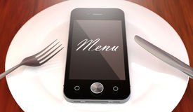 Mobile phone with menu text, on a plate. With fork and knife, order online concept illustration design. Original phone design Stock Images