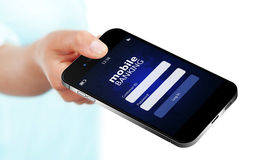 Mobile phone with mobile banking log in page holded by hand isolated over white. Background royalty free stock images