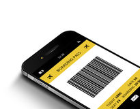 Mobile phone with mobile boarding pass over white Royalty Free Stock Photography