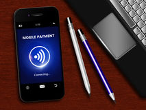 Mobile phone with mobile payment, laptop and office tool Stock Photos