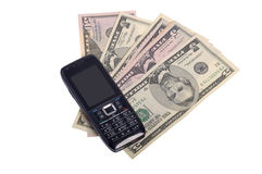 Mobile phone and money Royalty Free Stock Image