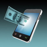 Mobile phone and money concept. 3d high quality render Stock Photography