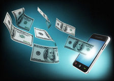 Mobile phone and money concept Royalty Free Stock Photo