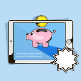 Mobile phone and money and piggy Bank Royalty Free Stock Photography