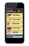 Mobile phone - money transfer. Illustration of a mobile phone showing a money transfer service page. After downloading the additional format, you can easily Royalty Free Stock Image