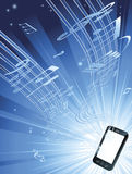 Mobile phone music background Royalty Free Stock Photo