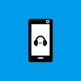 Mobile phone music flat icon. Mobile phone music sound sign simple designed Stock Photography