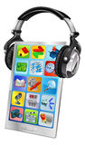 Mobile phone music headphones Royalty Free Stock Images
