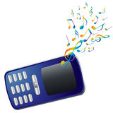 Mobile phone and music notes. Stock Photo