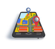 Mobile phone navigator with 3D dimensional map. Royalty Free Stock Photo