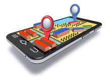 Mobile phone navigator with dimensional map. Royalty Free Stock Image